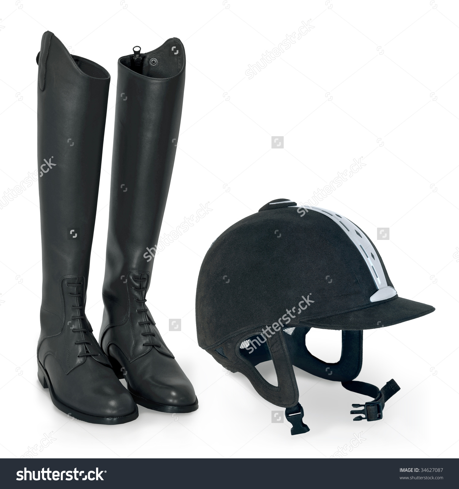 Horse Riding Helmet Boots Stock Photo 34627087.