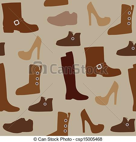 Clip Art Vector of Seamless pattern with different kind of shoes.