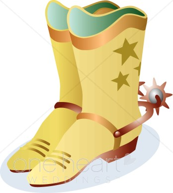 Tan Cowboy Boots with Stars and Riding Spurs Clipart.