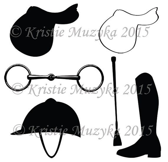 Equestrian Themed Clip Art Digital Download Graphics.