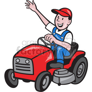 farmer riding tractor mower clipart. Royalty.