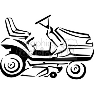 black and white riding lawnmower clipart. Royalty.