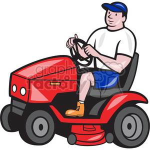 groundskeeper rideon lawn mower clipart. Royalty.