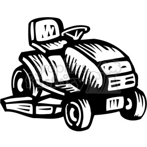 black and white riding lawn mower clipart. Royalty.