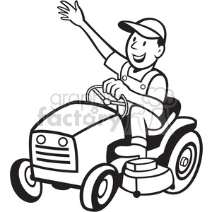 black and white farmer riding tractor mower clipart. Royalty.