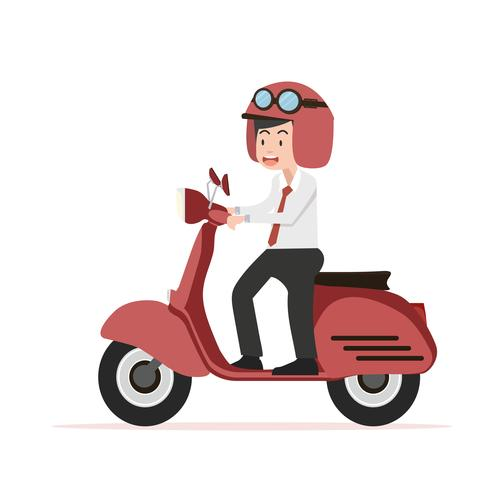 businessman riding red motorcycle Flat design.