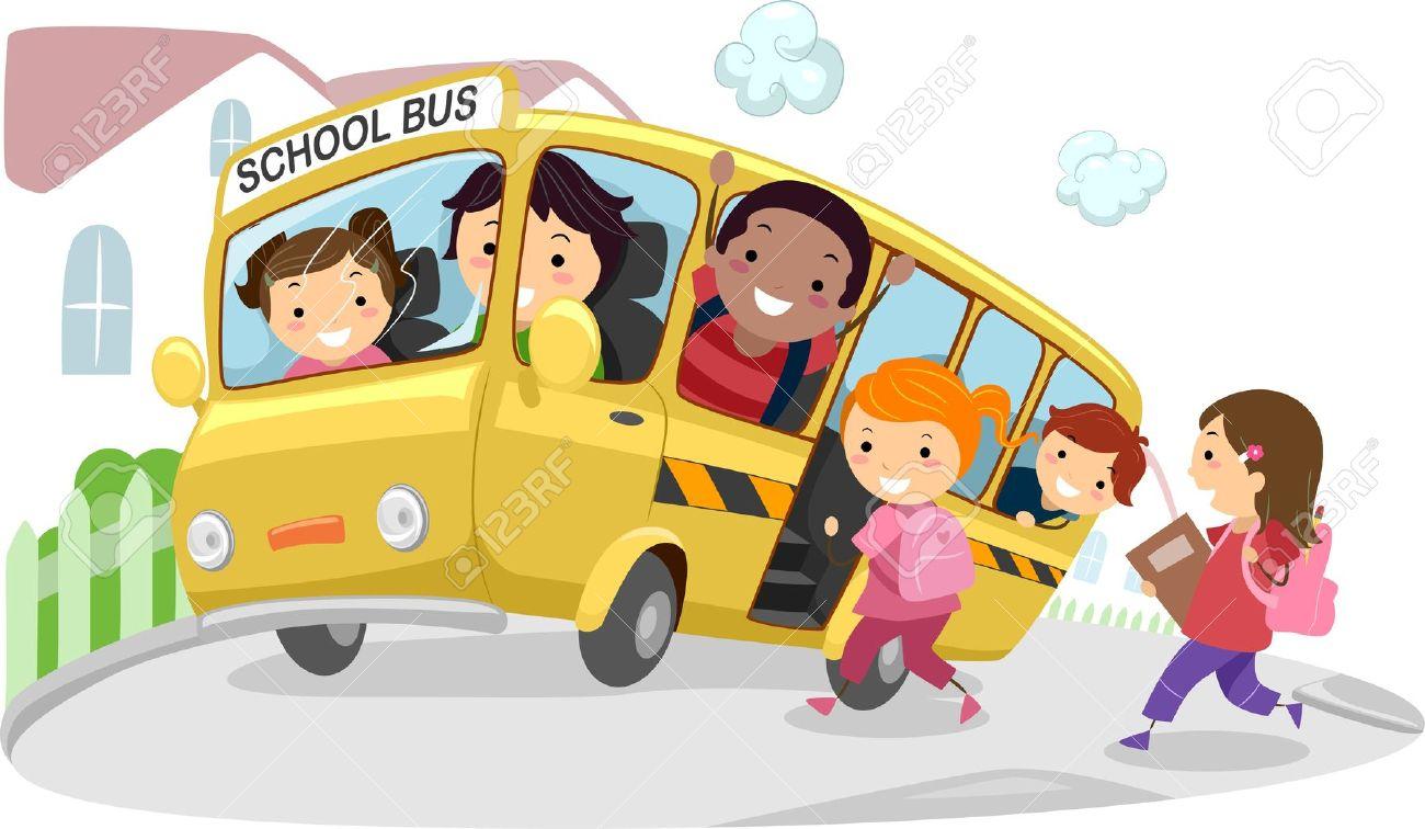 Kids riding school bus clipart.