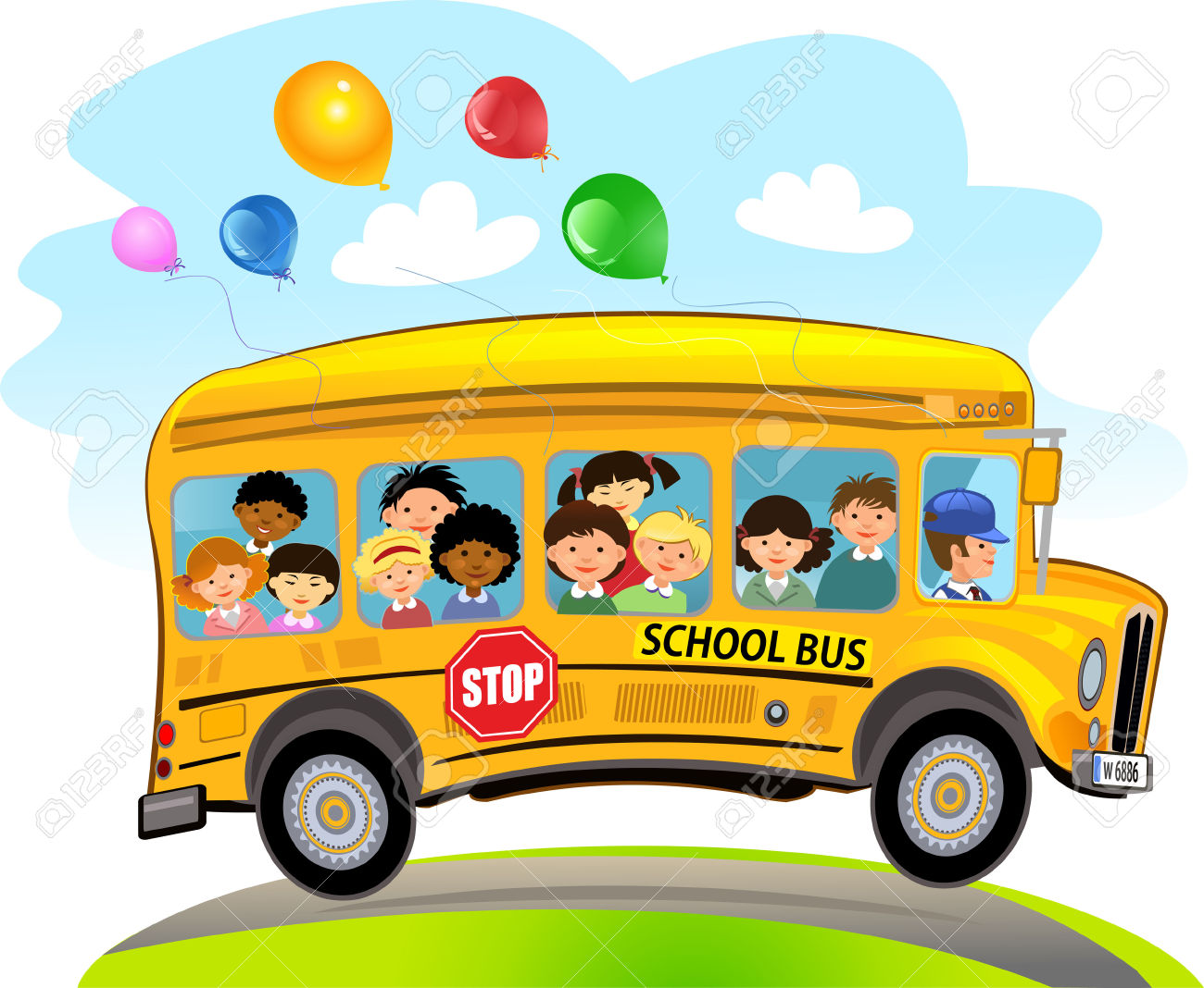 School bus and children clipart clipground for Clipart bus