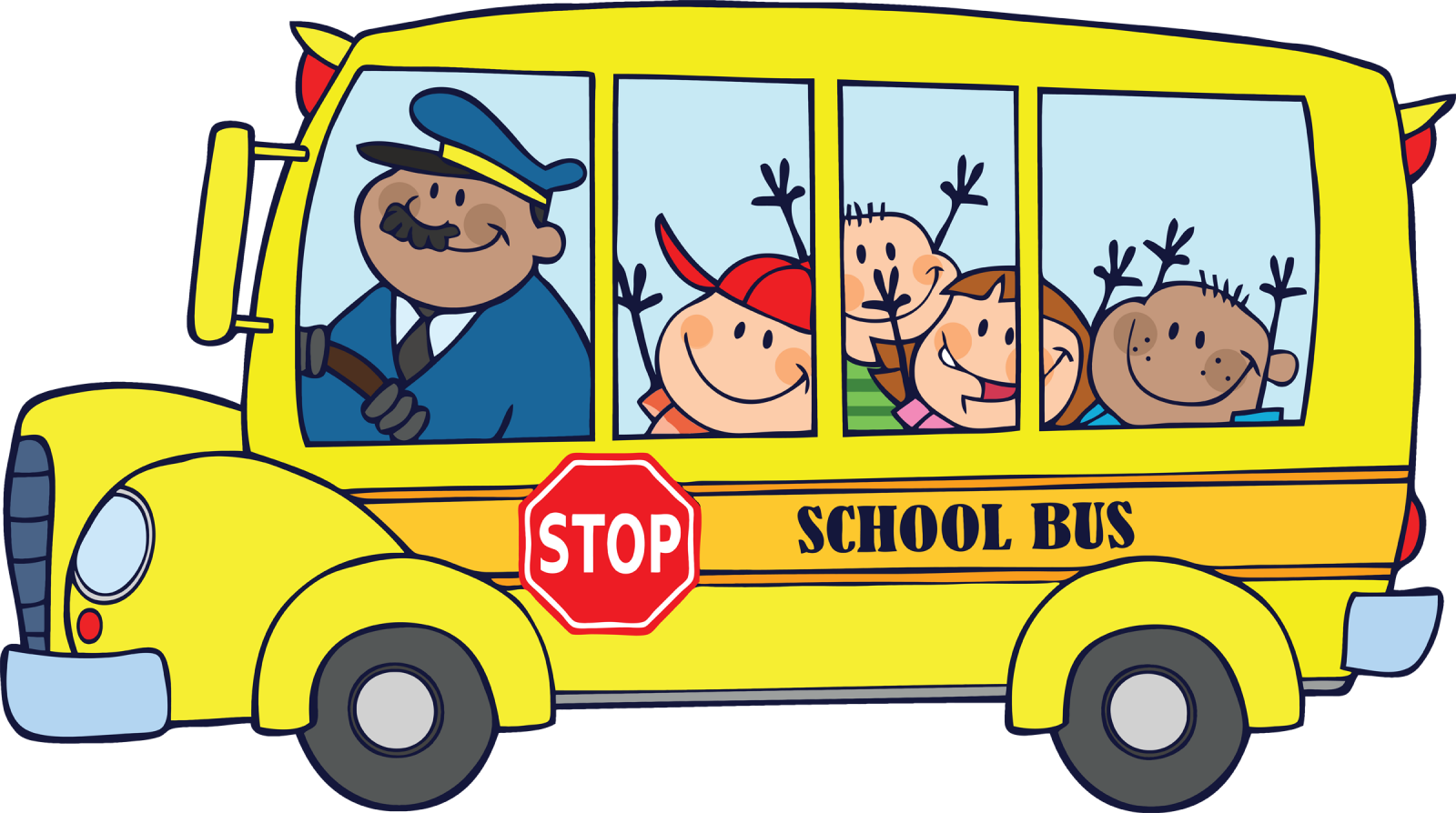 Kids riding school bus clipart.