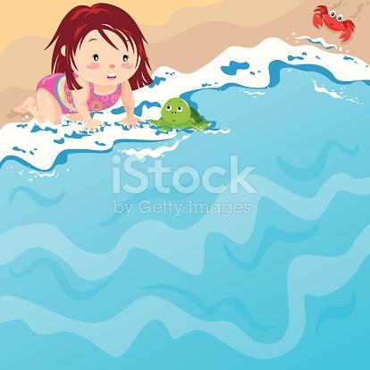 Baby Mädchen Am Strand Mit Babyriesenschildkröte Vektor.