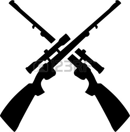 Hunting rifle clipart black and white.