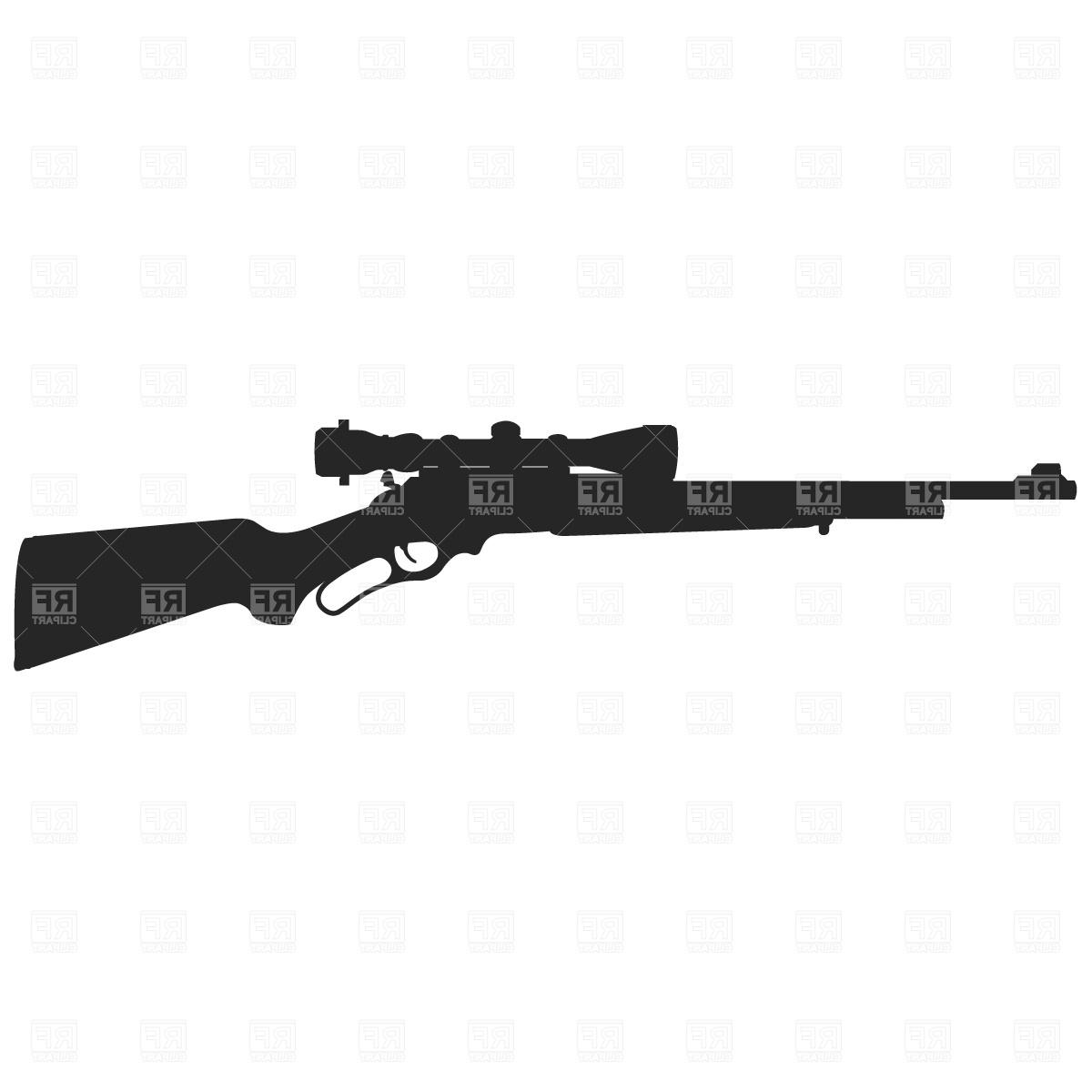 Unique Hunting Rifle Line Art Vector Design » Free Vector.