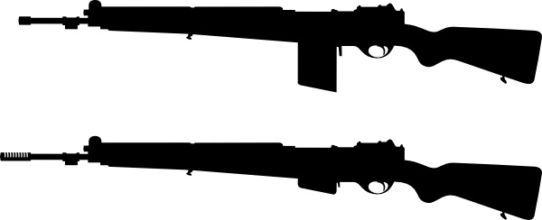 Guns Silhouette clip art Free vector in Open office drawing svg.