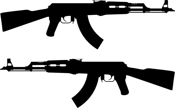 Ak Rifle Silhouette clip art Free vector in Open office drawing.