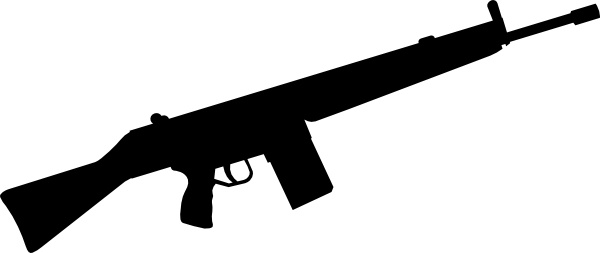 Automatic Gun Silhouette clip art Free vector in Open office.