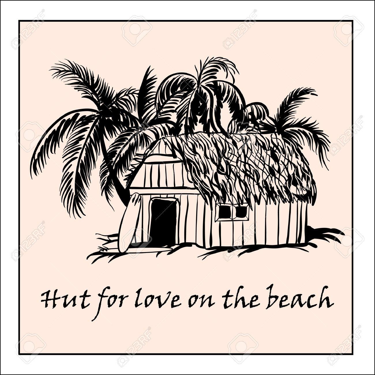 Rifugio Per L'amore Sulla Spiaggia Clipart Royalty.