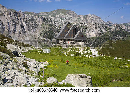 "Stock Photography of ""Rifugio Garelli mountain hut, Alta Valle."