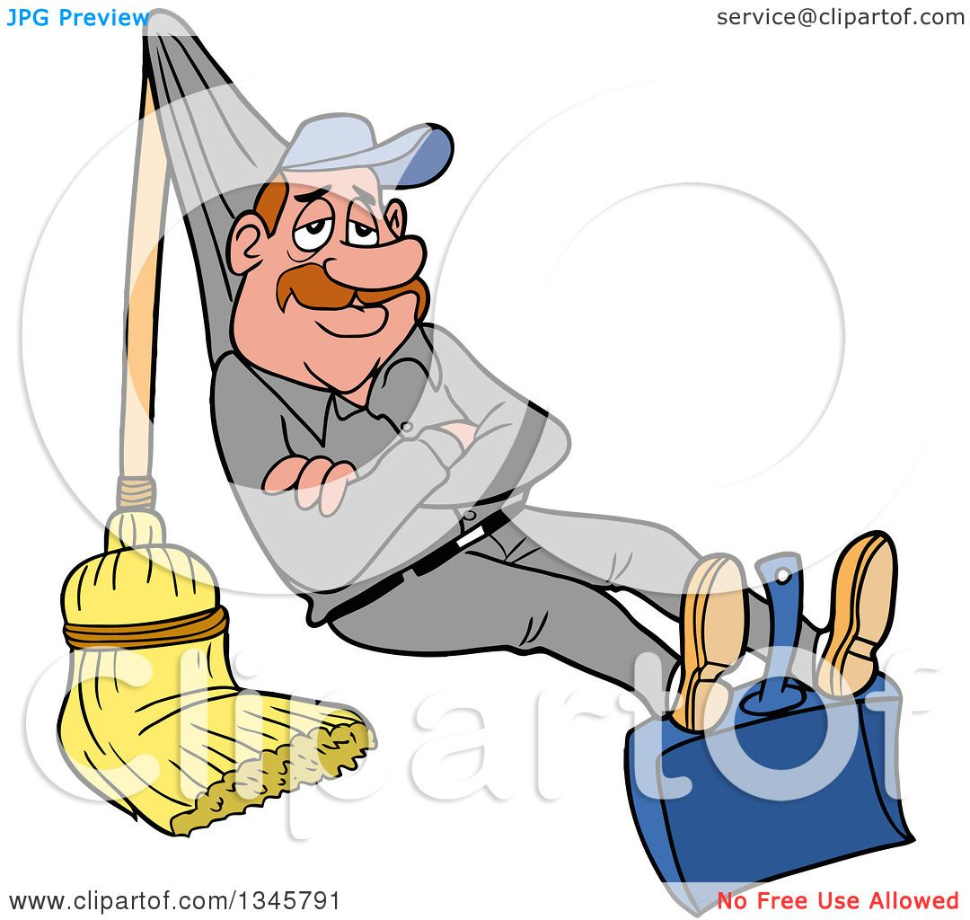 Clipart of a Cartoon Relaxed White Male Janitor Relaxing on a.