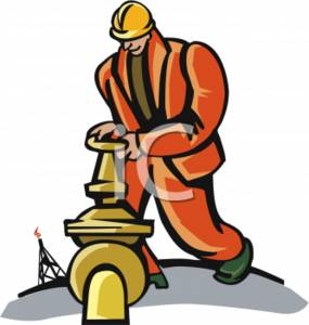 Clipart Picture of an Oil Rigger Opening a Hydrant.
