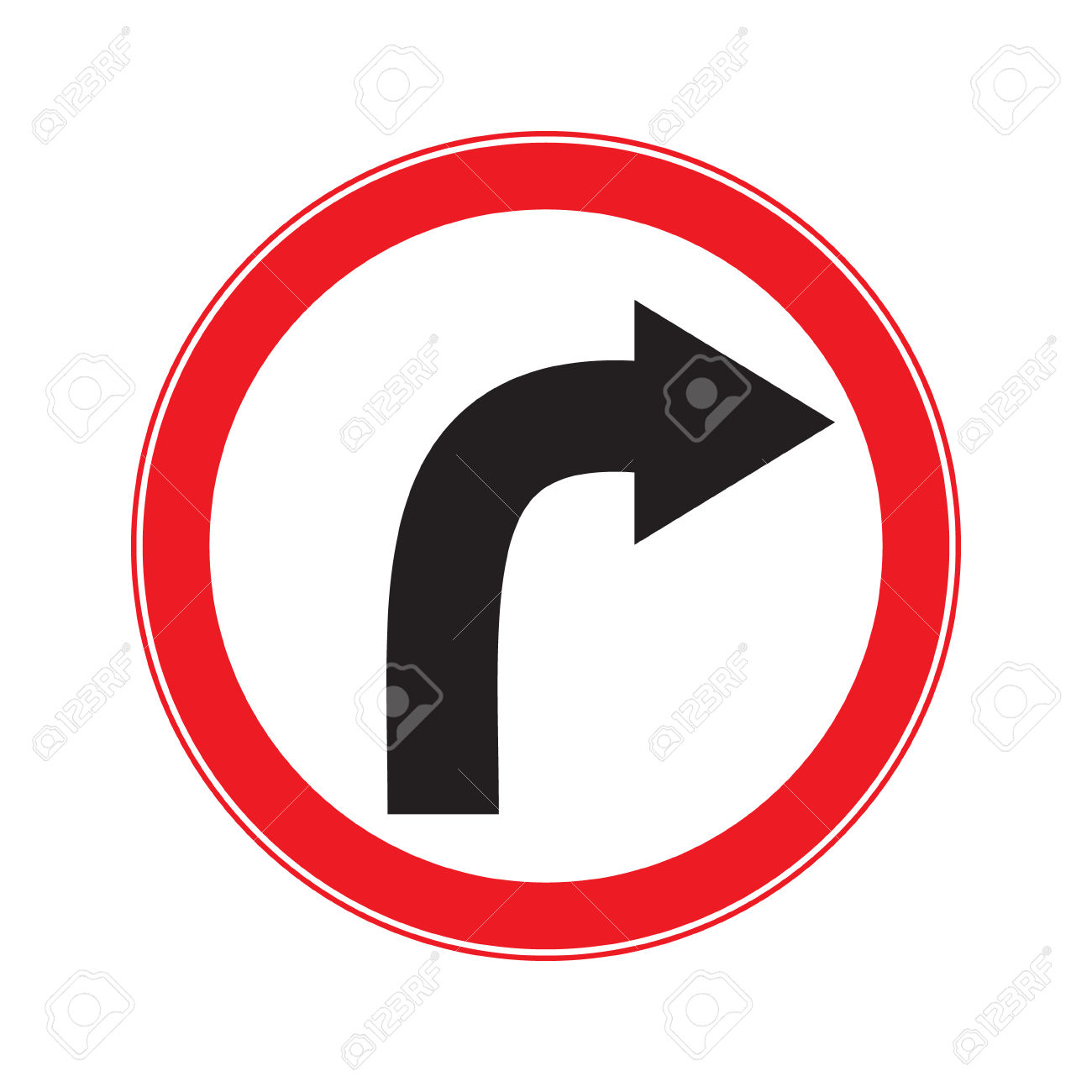 No Turn Right Ahead Sign Royalty Free Cliparts, Vectors, And Stock.