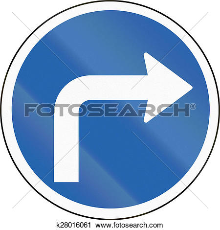 Clipart of Turn Right Ahead in Iceland k28016061.