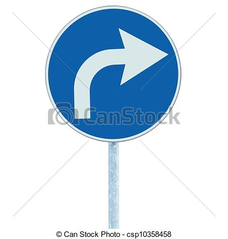 Stock Illustrations of Turn right ahead sign, blue round isolated.