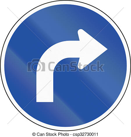 Clipart of South Korean mandatory direction sign.