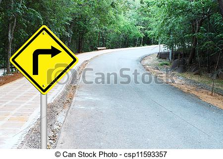 Stock Illustrations of Turn right warning sign on curve road.