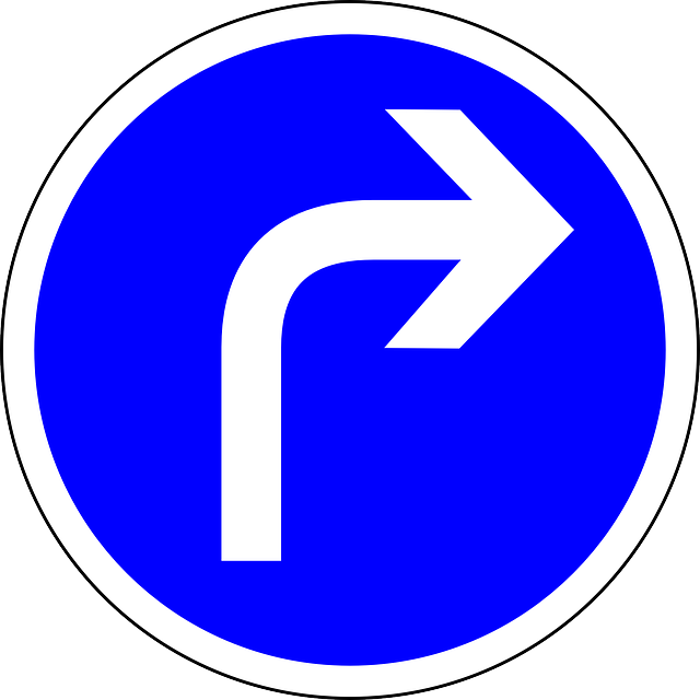 Free vector graphic: Traffic Sign, Turn Right Ahead.