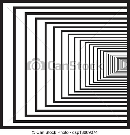 Vectors Illustration of Black squares tunnel right hand middle.