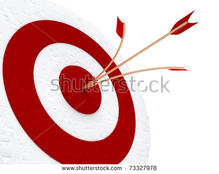 Red Target With One Arrow Split By A Second One, Both Hit Right In.