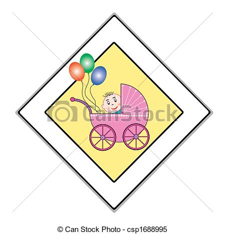 Clipart Vector of babies have the right of way.