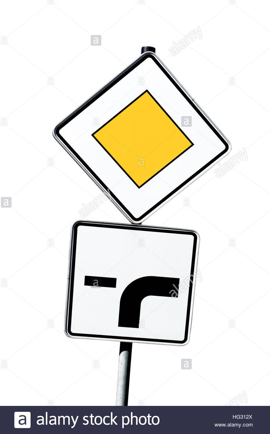 Traffic Sign: Right Of Way Stock Photo, Royalty Free Image.
