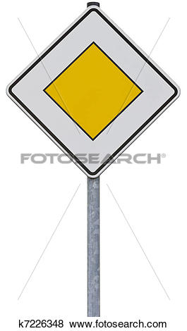 Pictures of traffic sign: right of way (with clipping path.
