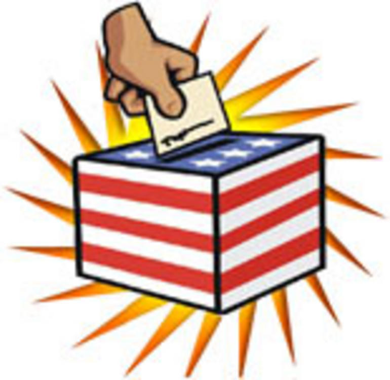 Old timey voting clipart open.