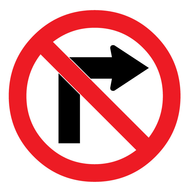 No right turn vector sign.