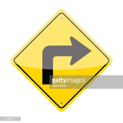 Right Turn Sign Clipart Image.