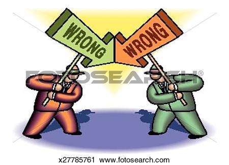 Clipart of Two Wrongs Don't Make a Right x27785761.