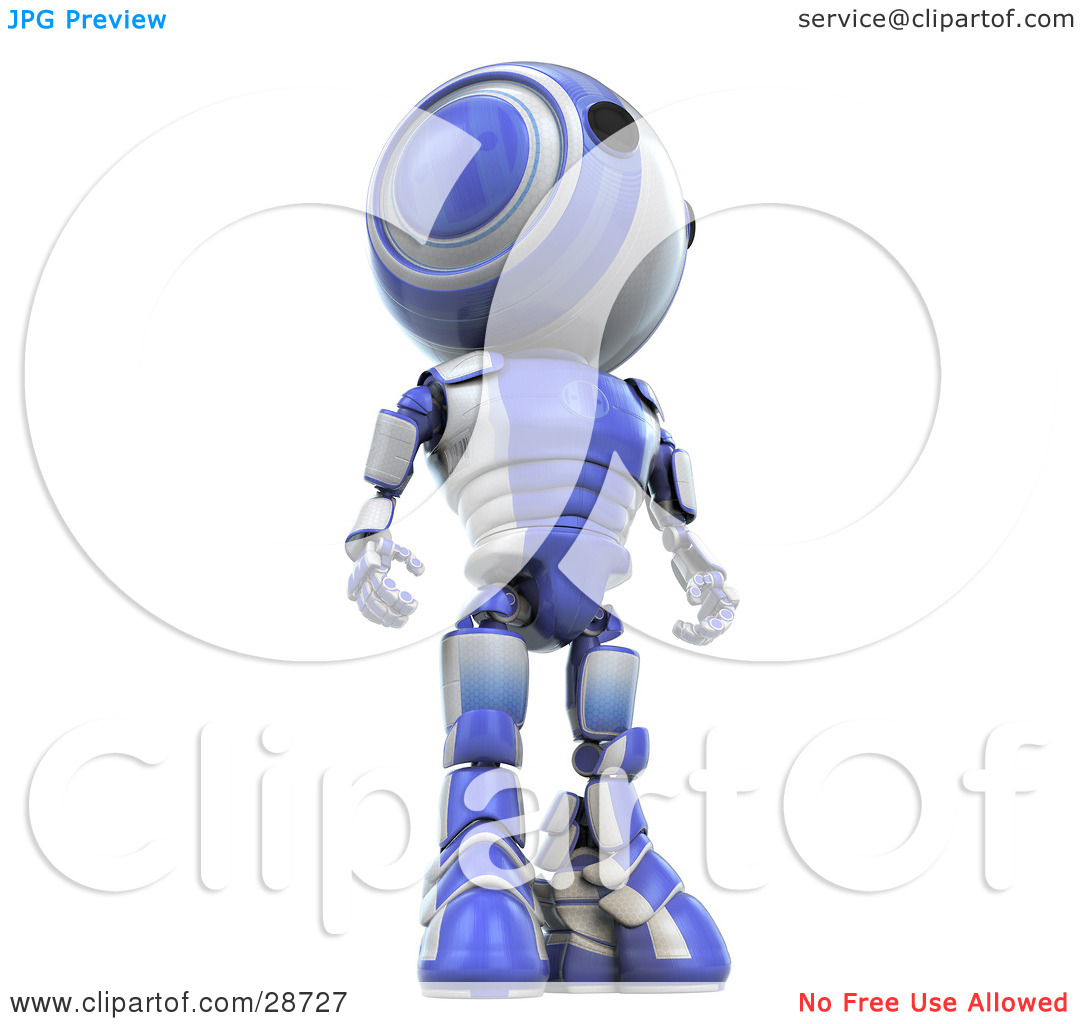 Clipart Illustration of a Tall Blue AO.