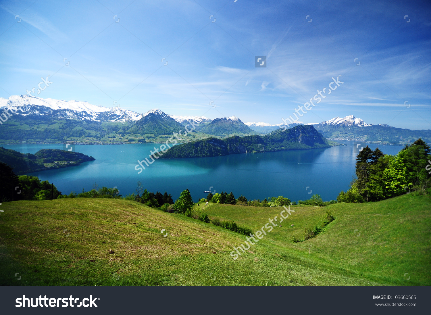 View Lake Lucerne On Descent Mount Stock Photo 103660565.