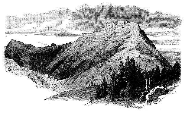 Antique Illustration Of Switzerland Rigi Mountain Clip Art, Vector.