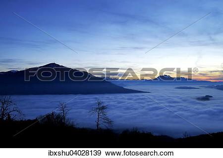 "Stock Photograph of ""Rigi and Pilatus above the fog, Canton of Zug."