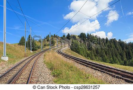 Stock Images of Rack railroad on Mount Rigi in Switzerland.