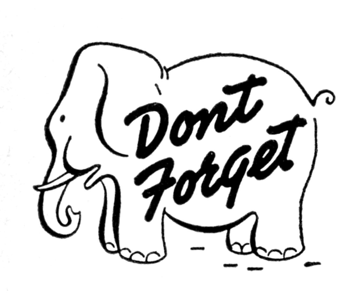 Elephant reminder clipart.
