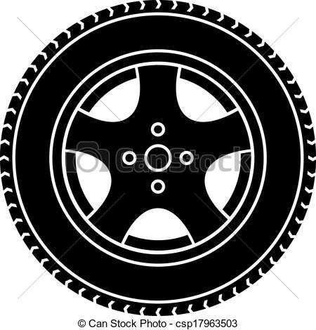Black car rim clipart.