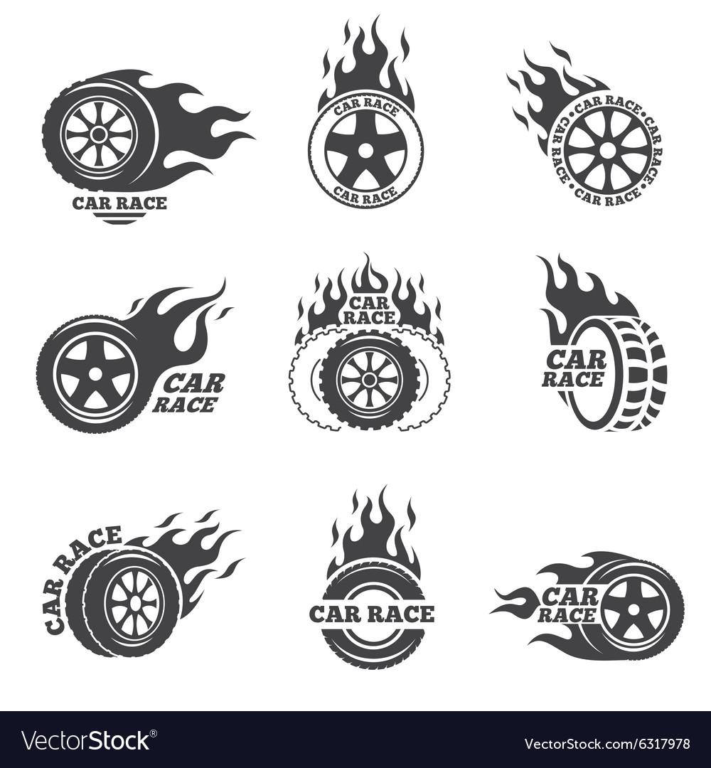 Car race logo set Wheel with fire flame.