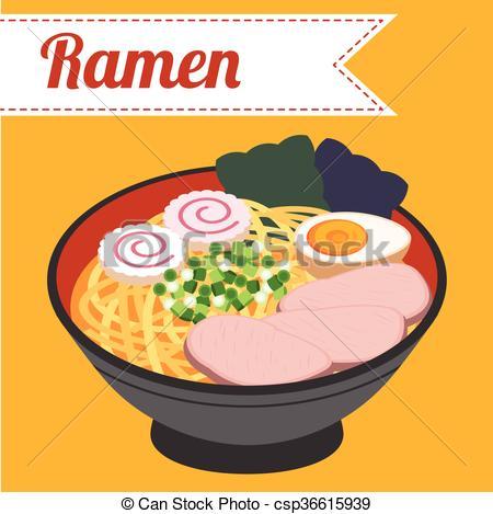 Vectors of Japanese noodle Ramen vector.