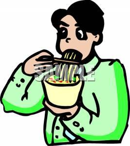 Man Eating Ramen Noodles Clip Art Image.