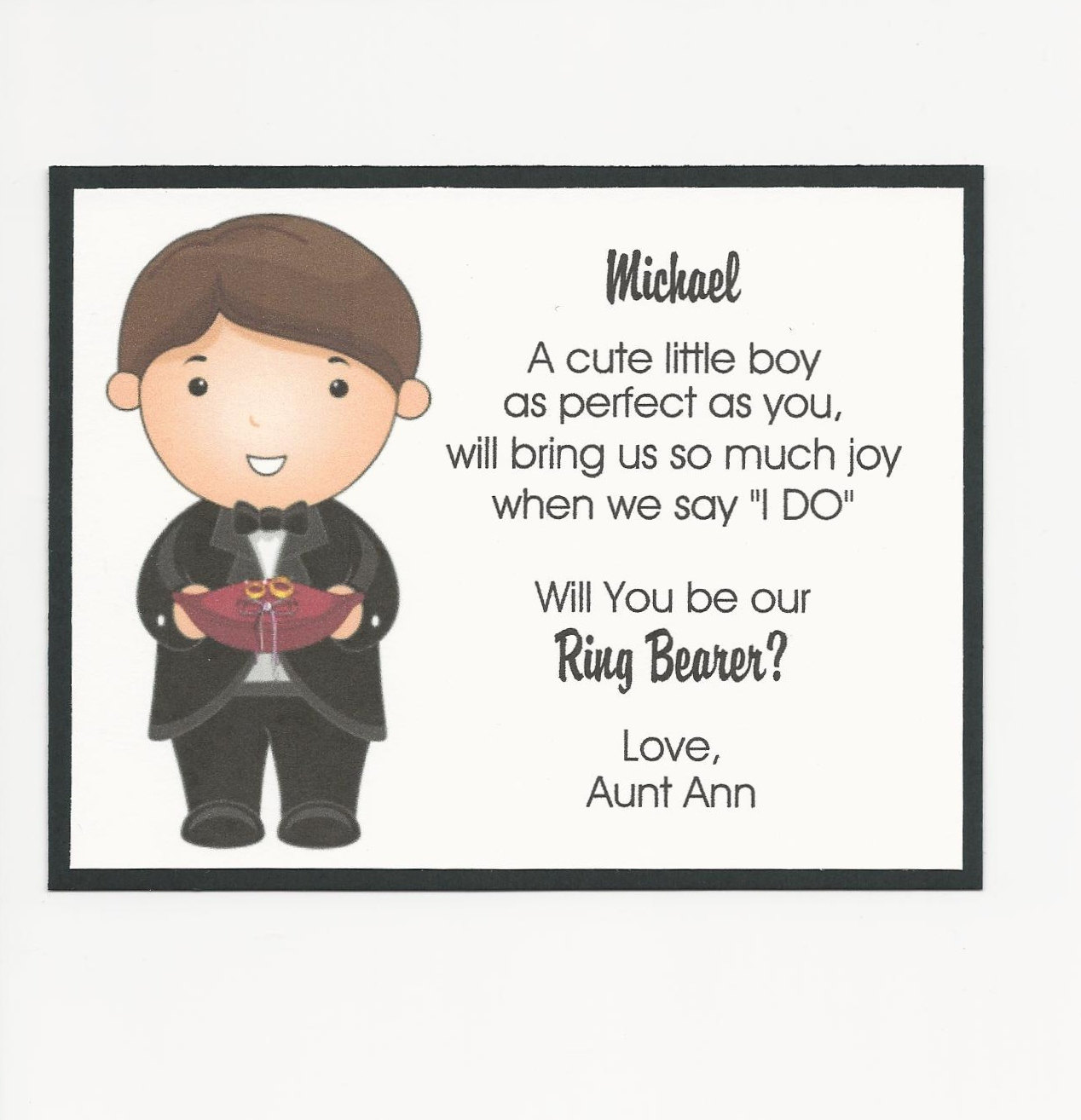 Will you be my Ring Bearer Flat card Personalized custom.