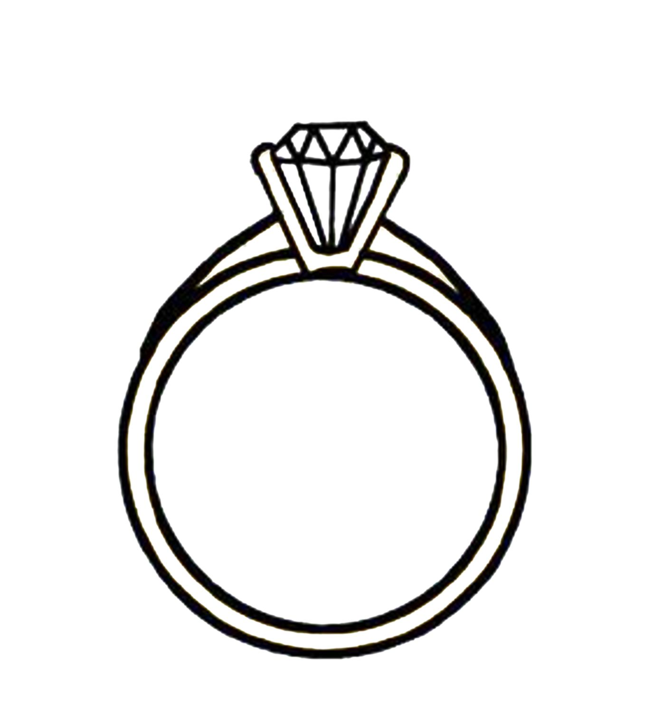 Clip Art Black and White Diamond Ring.